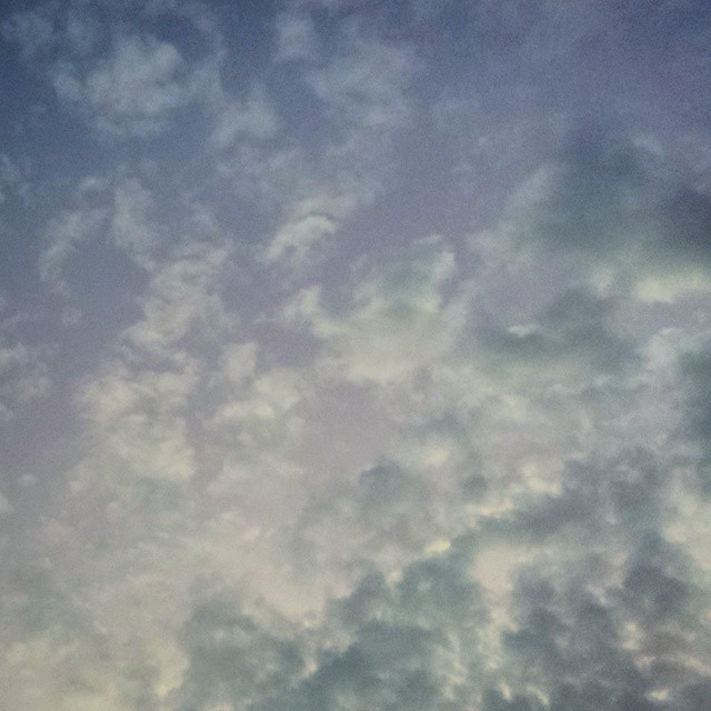 And the tufts of pale lemon clouds drifted in a lilac & powder blue sunset