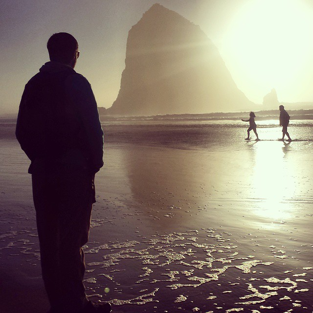 Winter sun at Cannon Beach